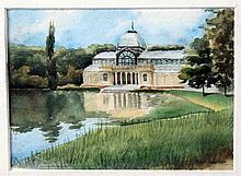 """CANTERO TAPIA, ANTONIO (Málaga, 1957). """"El Palacio de Cristal del Retiro"""". Acuarela, de 12x15 cm. Firmada."""
