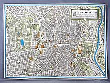 """GUZMÁN HERNÁNDEZ, JORGE. """"Perspectiva del centro de Madrid, 1960"""". Plano conmemorativo del 400 Aniversario de la Capitalidad de Madrid. Banco Exterior de España. Med.: 86x120 cm."""