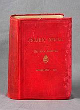 """VV. AA.  """"Anuario Oficial de la República Argentina""""  Establecimiento Gráfico Centenario R. Peña, 280.  Primer año - 1912 , Buenos Aires."""