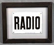 RADIO advertising plaque, in enamelled metal sheet.  Gral. Comercial, Dtr.