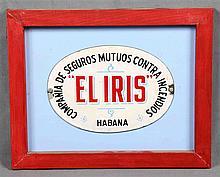Advertising plaque of the insurance company EL IRIS, Compañía de Seguros Mu