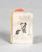 Mother-of-pearl dance card covers, 19th Century, decorated with a landscape