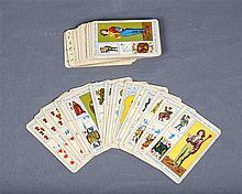 Antique French deck of Tarot cards.  Antigua baraja francesa de cartas