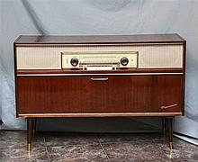 Wood German GRUNDIG radio cabinet, from 1960's, with folding cover and a re