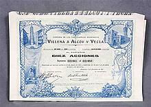 Ten stocks of Compañía de los Ferrocarriles Económicos de Villena a Alcoy y