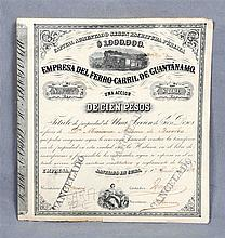 Stock of the company Ferrrocarril de Guantánamo, to the value of 100 pesos.