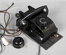 Old Dutch dual-handle wall telephone, PTT ERICSSON, from 1950's, in black b
