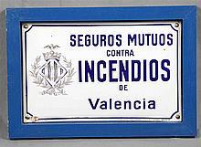 Advertising plaque of Seguros Mutuos contra Incendios de Valencia, in polyc