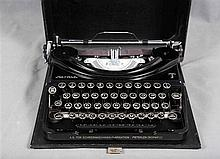 Portable PATRIA typewriter, from 1950's. Plaque in the interior with the in
