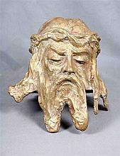 GEENEN, T. (Belgium). Gold-plated bronze Christ's head. Height: 24 cm Signe