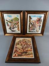 Lot of 3 Watercolors by Peruvian Street Artists