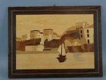 Marquetry Inlaid Wood Art - Seascape