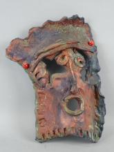 Signed Raku Art Pottery Mask