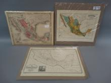 Lot of 3 Antique Maps of Mexico