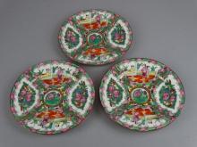 Group of 3 Rose Medallion Plates