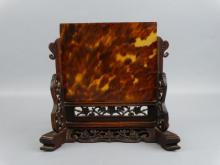 19c. Chinese Tortoise Shell Table Screen