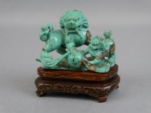Chinese Fu Lion Carving in Turquoise - Qing