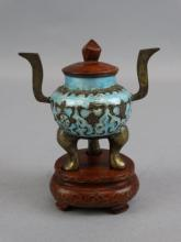 Qing Canton Enamel Incense Burner on Stand