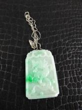 Carved Jade Pendant on White Gold Chain
