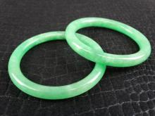 Pair of Apple Green Jade Bangles