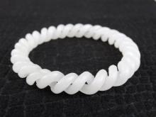 Hetian White Jade Carved Twist Bangle
