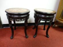 Pair of Marble Topped Chinese Stands