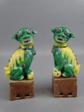 Pair of Tri-Glazed Fu Dogs