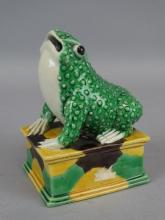 Tri Glazed Frog Figure