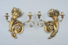 Pair of Italian Gilded Wall Sconces 19th Century
