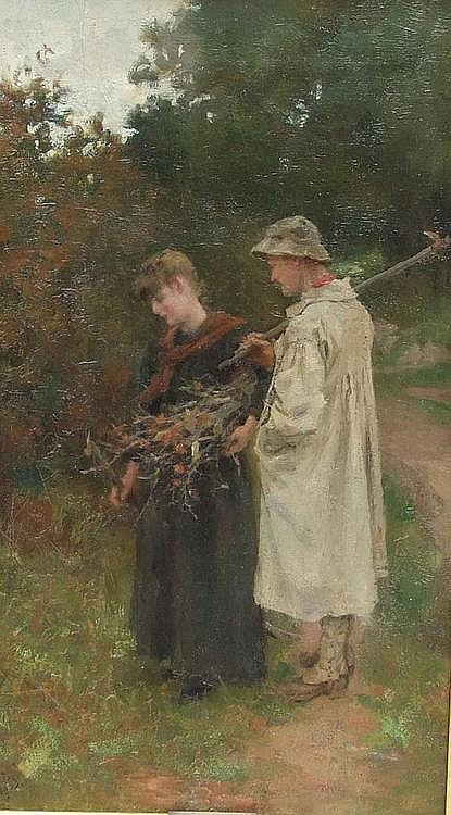 B WILLIAM ATKINSON - Courting. Oil on Canvas.