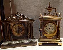 A 19TH CENTURY FRENCH BRASS MANTLE CLOCK Mounted