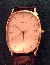 ZENITH, A 9CT GOLD SLIM LINE GENTLEMEN'S WRISTWAT