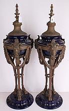 A PAIR OF NEOCLASSICAL ROYAL BLUE CERAMIC LAMP BASES