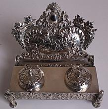 S. CHALLMAYER, A LATE 19TH CENTURY GERMAN SILVER INKSTAND