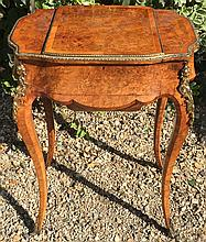 A VICTORIAN BURR WALNUT AND ORMOLU MOUNTED LADIES' EXTENDING WORK TABLE Opening to reveal single dressing mirror, raised on cabriole legs.  (h 73cm x 56cm x d 40cm)