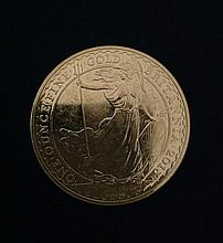 A FINE 22CT GOLD COMMEMORATIVE 2013 BRITANNIA COIN Bearing a portrait of Queen Elizabeth II and a figure of Britannia, riding waves and holding a trident. (approx d 4cm) (weight 1oz) 5279/124422/1