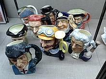 A COLLECTION OF NINE ROYAL DOULTON CHARACTER JUGS