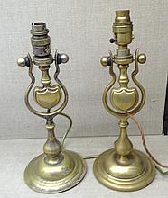 A PAIR OF LATE 19TH/EARLY 20TH CENTURY HEAVY BRASS SHIPS BINNACLE CANDLESTICKS