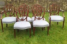 A SET OF SIX 20TH CENTURY REGENCY STYLE CHAIRS