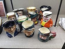A COLLECTION OF TEN CHARACTER JUGS