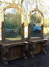 AN IMPRESSIVE AND RARE PAIR OF OAK GOTHIC DESIGN CONSOLE TABLES