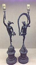 A PAIR OF LATE 19TH CENTURY BRONZE FIGURAL TABLE LAMPS