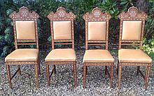 A SET OF FOUR ITALIAN, TUSCAN DINING CHAIRS