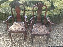 A PAIR OF EARLY 20TH CENTURY QUEEN ANNE STYLE MAHOGANY OPEN ARMCHAIRS