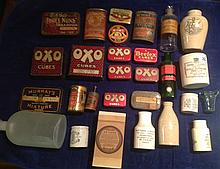 A COLLECTION OF TWENTY-EIGHT 19TH CENTURY AND LATER ADVERTISING TINS, BOTTLES AND JARS
