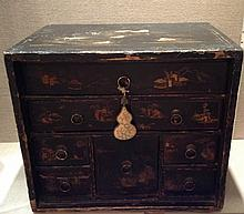 A 19TH CENTURY JAPANNED TABLE TOP FITTED JEWELLERY BOX