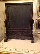 A LATE 19TH CENTURY CHINESE HARDWOOD TABLE SCREEN