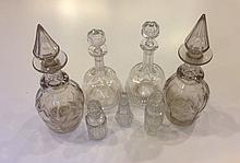 A PAIR OF GEORGIAN RING NECK DECANTERS