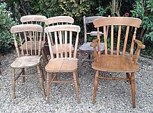 SIX VARIOUS 19TH CENTURY AND LATER COUNTRY CHAIRS