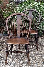 A PAIR OF 19TH CENTURY HOOP BACK COUNTRY CHAIRS